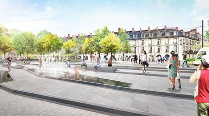 Actualité : Travaux de création des fontaines quartier Feydeau Commerce à Nantes